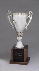 Silver Trophy Cup On Walnut Base
