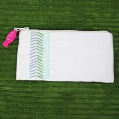 Striped Hand Embroidered Clutch