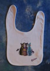 Belise Baby - Three Cats and a Moon Reversable Bib
