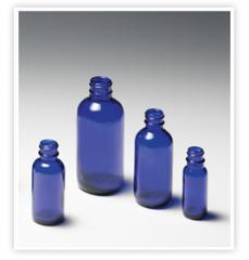 Cobalt Blue Glass Bottles 1/2 oz Boston Round