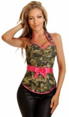 Camouflage Halter Pin-Up Burlesque Corset Top