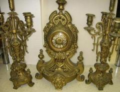 French 1890 Three Piece Clock Set