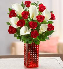 Stunning Red Rose and Calla + Free Red Vase