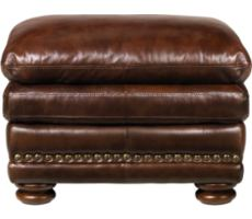 McKinsley Burgundy Leather Ottoman
