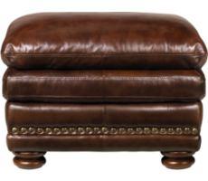 McKinsley Burgundy Leather Ottoman