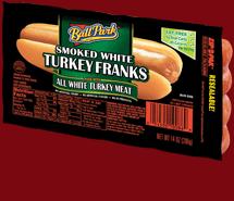 Ball Park Bun Size Smoked White Turkey Franks