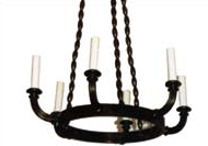 Empire Style Wood 6 Arm Chandelier