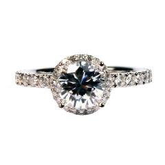 Sylvie 18K White Gold Engagement Ring with Side
