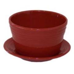 Scarlet Fiesta Flower Pot with Saucer.