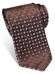 Egara Brown Dot Narrow Silk Tie