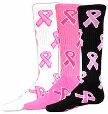 Breast Cancer Awareness Pink Ribbons Knee High