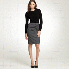 Pleated Zip Pencil Skirt