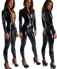 Front Zipper Catsuit in Black Superstretch