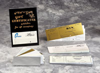 Gift Certificates, Envelopes and Gift Certificate Folders