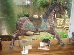 Wooden Horse with saddle and stirrups