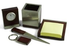 Wood and Silver Desk Set