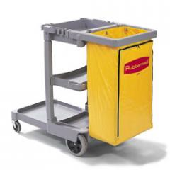 Janitor Cart with Zippered Yellow Vinyl Bag