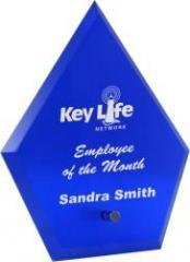 Sg505 Blue Glass Standing Diamond Award