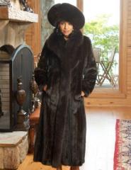Female Mink Coat w/ Fox Tux w/ Bracelet Cuffs