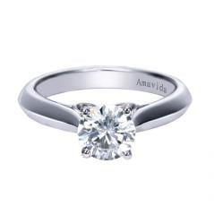 18K White Gold Contemporary Solitaire Engagement