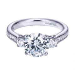 14K White Gold Contemporary 3 Stone Engagement