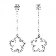 14k Gold Clover Earring with 1.00cttw of Diamonds