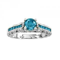 1.10ct tw Diamond Engagement Ring 0.70ct Blue
