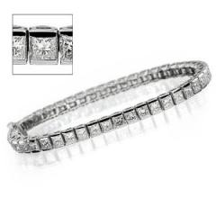 Semi-Bezel Set Round Diamond Straight Line Eternity Bracelet