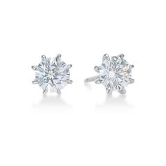Eight-Prong Round Diamond Stud Earrings