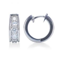 Prong-Set Graduated Round Diamond Hoop Earrings