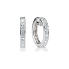 Channel-Set Princess Cut Diamond Hoop Earrings