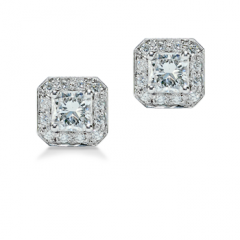 Square Radiant Cut Diamond Stud Earrings with