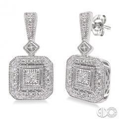 1/20 Ctw Round Cut Diamond Vintage Earrings in