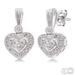 1/20 Ctw Heart Shape Round Cut Diamond Earrings in