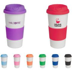 16 oz tumbler with silicone comfort grip and