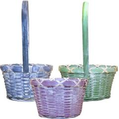 Bright White Washed Wicker Baskets (24 Pc)