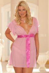Plus Size Pink Polka Dot Babydoll