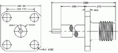 SMA jack receptacle 4 hole flange mount