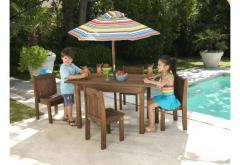 Table & Stacking Chairs With Striped
