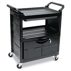Utility Cart w/Locking Doors, 2-Shelf, 33-5/8w x