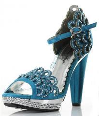 BP461-LOURDES Blue Rhinestone Scalloped Sandals