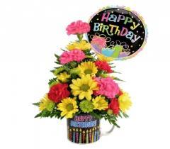 Happy Birthday Candle Mug Flowers