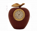 12AAC Red Marble Apple Paperweight with Clock