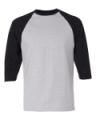 Heather Grey Black 3/4 Sleeve Raglan Baseball T-Shirt