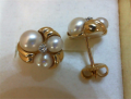 2DIAS .04CTW 14KY Pearl Earrings