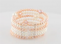 Freshwater Cultured White & Pink Pearl Cuff Bracelet