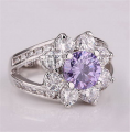 Gorgeous Crystal 18K Gold Purple Flower Fashion Ring