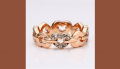Gorgeous Cubic Zirconia 18K Gold Plated Heart Link Fashion Ring