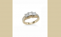 Three stone Princess with Arch Channel Set Ring