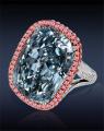 90713372 Blue Cushion Cut Diamond Ring